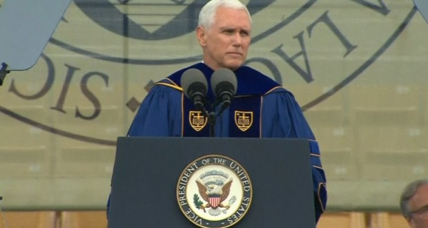 Notre Dame graduates walk out on Pence as he touts free speech