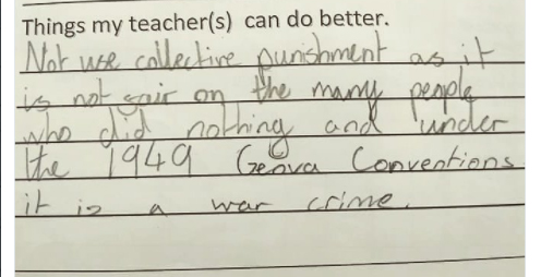 Little girl accuses teacher of committing a war crime in teacher evaluation