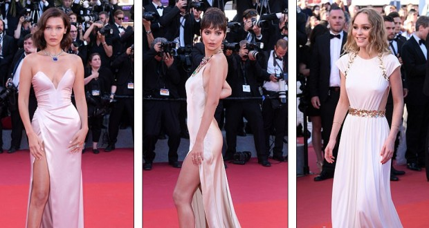 Bella Hadid, Emily Ratajkowski and Lily-Rose Depp rule the red carpet in racy champagne gowns at the 70th Cannes Film Festival Opening Gala