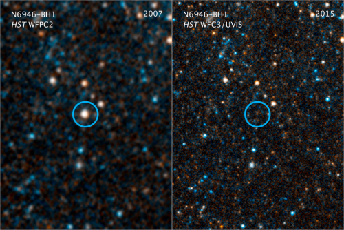 This pair of visible-light and near-infrared Hubble Space Telescope photos shows the giant star N6946-BH1 before and after in vanished out of sight by imploding to form a black hole.