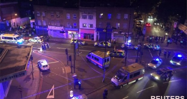 Man dies as van hits worshippers near London mosque