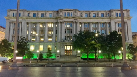 Buildings light up in green in support of Paris climate accord