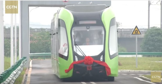 China debuts driverless train that only needs white painted lines as tracks