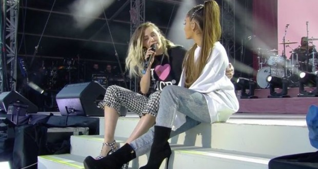 Miley Cyrus and Ariana Grande performed Gorgeous Duet at the One Love Benefit in Manchester