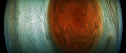 This enhanced-color image of Jupiter's Great Red Spot was created by citizen scientist Gerald Eichstädt using data from the JunoCam imager on NASA's Juno spacecraft.